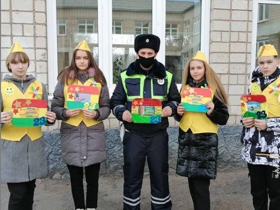 Дети Первомайской школы провели акцию «Дисциплинированный водитель – лучший защитник Отечества»