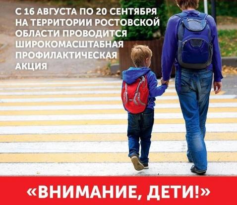 В Ростовской области проходит широкомасштабная профилактическая акция «Внимание, дети!»