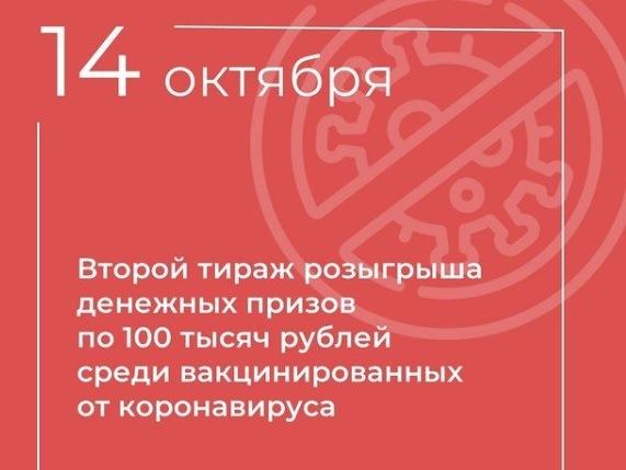 14 октября 2021 года будет проведен второй тираж розыгрыша денежных призов среди вакцинированных от коронавируса